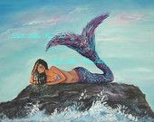 Boy Painting Boy Art Mermaid Painting by LeslieAllenFineArt