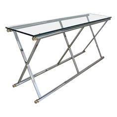 Chrome Brass and Glass Console Table on Chairish.com