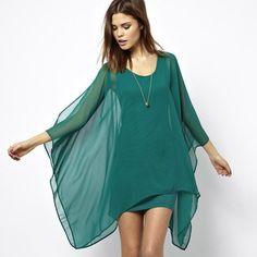 Jade elegante de tipo gasa verde capa doble capa elástica forro de punto de una sola pieza del vestido haoduoyi