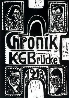 """Die Brücke (The Bridge). German expressionist artists group. Dresden. 1905. Founding members: Fritz Bleyl, Erich Heckel, Ernst Ludwig Kirchner and Karl Schmidt-Rottluff. Their aim was to find new ways of aristic expression[...]. The """"Brücke"""" is therefore one of the earliest German artists' associations which had a crucial impact on the development of classical modern art. The arists collectively created a style which was to be defined within 20th century art history as """"Expressionism""""."""