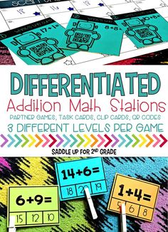 This is a set of 8 differentiated addition games to use all year long in your classroom. It features partner games, task cards, and QR codes. Each game has 3 leveled sets and all are in black white so that you can print onto colored paper for differentiation. These games are a perfect fit for your math centers.