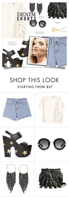 """""""Summer Staple: Denim Cutoffs"""" by sagemae ❤ liked on Polyvore featuring Pink Stitch, MSGM, STELLA McCARTNEY, Gucci, Humble Chic, GUESS by Marciano and Astley Clarke"""