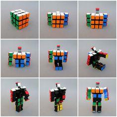 LEGO Rubik's Cube is more than meets the eye Lego Transformers, Lego Mecha, Lego Minecraft, Lego Rubiks Cube, Casa Lego, Lego Bots, Lego Creative, Lego Sculptures, Micro Lego