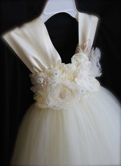 Ivory Vintage Tutu Dress / Ivory Flower Girl by ManaiaBabyDesigns