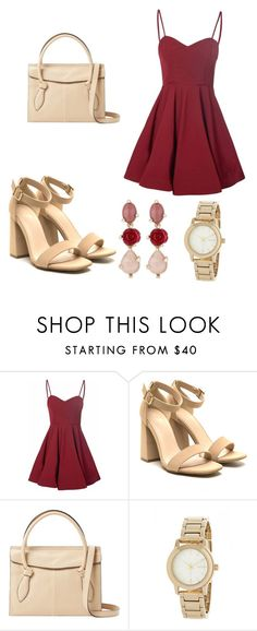 """""""Romantic date night in ruby red"""" by bbysplatt104 ❤ liked on Polyvore featuring Glamorous, Foley + Corinna, DKNY and Oscar de la Renta"""