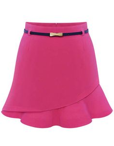 Pink Asymmetrical Ruffle Bodycon Skirt - Sheinside.com