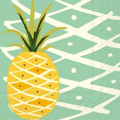 IHR Tropical Pineapple teal Fruit Theme Printed 3-Ply Paper Cocktail Beverage Napkins Wholesale C012640