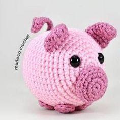 Diy Crochet Toys, Bobble Crochet, Crochet Pig, Crochet Eyes, Crochet Patterns Amigurumi, Love Crochet, Crochet Animals, Crochet Crafts, Crochet Dolls