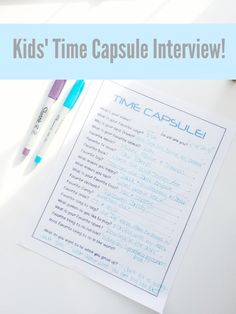 Kids Time Capsule Interview