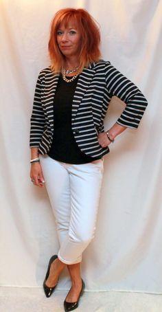 Fashion Fairy Dust Black and white striped blazer, white boyfriend jeans, black tee, black kitten heel pumps
