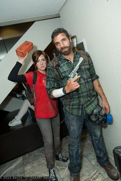 Ellie and Joel | Last of Us Great costume. The brick is a great touch :D