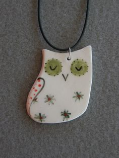 Ceramic Owl PendantWhiteGreenBlueRedWith Black by TatjanaCeramics