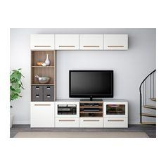 """BESTÅ TV storage combination/glass doors - walnut effect light gray/Marviken white clear glass, drawer runner, soft-closing, 94 1/2x15 3/4x90 1/2 """" - IKEA"""