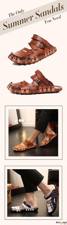 US$21.99 + Free Shipping. Men Sandals, Beach Shoes, Breathable Sandals, Leather Sandals, Stylish Sandals, Summer Flats, Leather Slippers. Upper Material: PU Leather. Color: Brown, blue. Get a Look at the Most Wanted Sandals this Summer. Repin If You Like It!