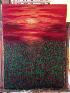 A personal favorite from my Etsy shop https://www.etsy.com/listing/226671973/sunset-poppies-red-sky-green-field-18