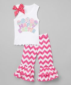 White 'Happy Easter' Tank & Pink Ruffle Pants - Toddler & Girls by So Girly & Twirly #zulily #zulilyfinds