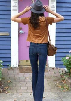 Scalloped edge hem and sleeves: EASY DIY makeover to an already existing T! Watch at Threadhead TV on youtube. ~High-Rise Bell Canyon Flare Jeans by Paige | Pinned by topista.com