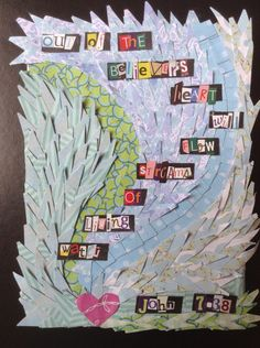 Streams of living water collage Religious Bulletin Boards, John 7 38, Angel Artwork, Living Water, Religious Education, Baby Shower Balloons, Holy Family, Church Ideas, Christian Art
