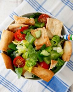 Fattoush Salad from weelicious.com | healthy lunches, healthy salad recipes, quick salad recipes
