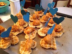 Mini Chicken and Heart Shaped Waffles