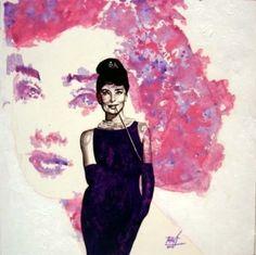 Audrey Hepburn Watercolor/ink on canvas