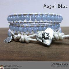 Angel Blue Handmade Leather Wrap Japanese Powerstone Bracelet by OffOnAWhimJewelry #BlueStone #BlueBracelet #AngelJewelry