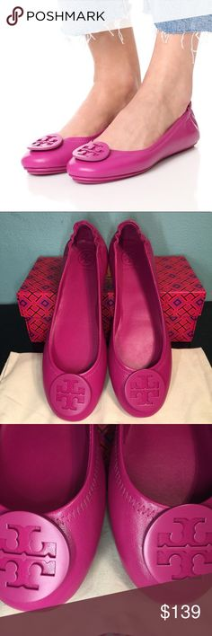 b5fd2f768d85 Tory Burch Minnie Travel Flat Party Fuschia NEW Brand new with box and  dustbag The size