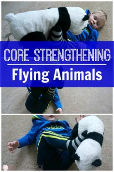 Strength Through Play - Flying Animals Core strengthening for kids game flying animals is so much fun. It makes core strengthening for kids easy and through play! A great kids activity! Great for gross motor skills! Core strengthening for kids game flyin Sports Activities For Kids, Gross Motor Activities, Gross Motor Skills, Movement Activities, Sensory Activities, Therapy Activities, Kids Sports, Toddler Activities, Music Activities
