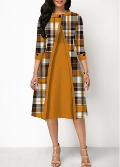 Party Dresses For Women Button Detail Plaid Print Round Neck Dress Trendy Dresses, Dresses For Sale, Casual Dresses, Dresses Online, Dresses Dresses, Dress Sale, Party Dresses, 1950s Dresses, Prom Gowns