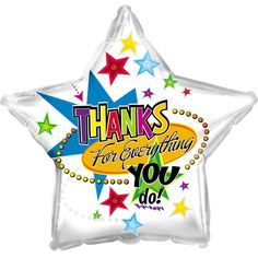 Thanks For Everything Mylar Balloon, Adult Unisex Metallic Balloons, Round Balloons, Mylar Balloons, Confetti Balloons, Latex Balloons, Stick Centerpieces, Bargain Balloons, Balloons Online, Thanks For Everything