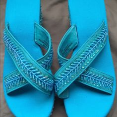 Turquoise sequin sandals. Sequin Sandals worn once.  All man made materials.  Bundle it! Shoes Sandals