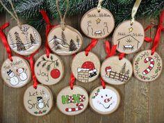 Snowman Ornament Wood Burned Birch Tree Slice Christmas | Etsy