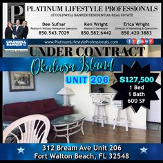 Another Platinum Property ⏭UNDER CONTRACT⏮ at Sandy Pointe Condos on Okaloosa Island! Unit 206 is a 1 bed/1 bath unit listed at only $127,500! 👀Short Term & Long Term Rentals allowed at the complex! Only 11 Units left!