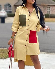 Colorblock Irregular Hem Shirt Dress Women's Online Shopping Offering Huge Discounts on Dresses, Lingerie , Jumpsuits , Swimwear, Tops and More. Short African Dresses, Latest African Fashion Dresses, African Print Fashion, Trend Fashion, Fashion Outfits, Style Fashion, Steampunk Fashion, Gothic Fashion, Modest Fashion