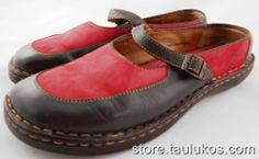 Womens shoes BORN comfy Mary Jane Slides Flats Red Brown LEATHER sz US 9 EU 40.5 #Brn #MaryJanes