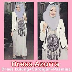 DRESS AZURRA Harga: Rp. 130.000,  Dress kutung + Cardigan + Pasmina Bahan: Spandek Rayon Size: All size fit to xl #Katalog_HijabManis #HijabManis #Dress #Azurra #Spandek #Pasmina #Cantik