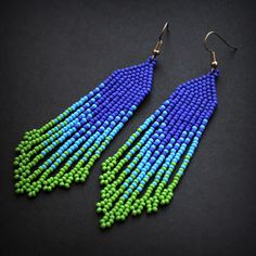 Long green and blue seed bead earrings Bohemian beaded