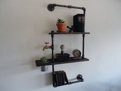 Industrial Black Pipe Two Tier Shelf with Planter by Mobeedesigns