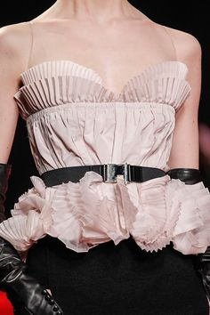Pale Pink Pleated Bustier - pretty pleat textures & belted waist; fashion details // Nina Ricci