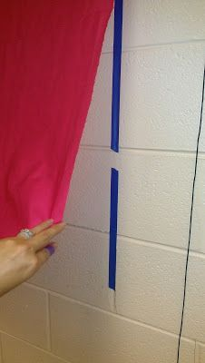 Easy and quick way to make fabric bulletin boards on your cinder block classroom walls using painters tape and hot glue. Also classroom management using tickets Classroom Setting, Classroom Setup, Classroom Design, School Classroom, Art School, Classroom Walls, Future Classroom, Classroom Wall Decor, School Stuff