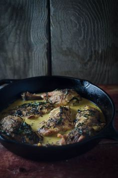 Pan-Roasted Chicken with Tarragon and Mustard Cream Sauce #nourishedkitchen #nourishingbroth