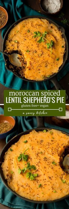 Moroccan Spiced Vegan Shepherd's Pie - classic comfort food with a Middle Eastern twist. Creamy lentils spiced with cumin and coriander topped with a fluffy sweet potato mash Gluten Free + Vegan Lentil Recipes, Veggie Recipes, Yummy Recipes, Whole Food Recipes, Cooking Recipes, Healthy Recipes, Diet Recipes, Pulses Recipes, Veggie Food