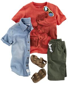 He'll love this layered look, complete with a pocket henley under a striped button front and schiffli chino shorts. Pair with slip-on boat shoes for added style.