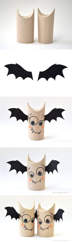 Decoración simple de halloween - mollymoocrafts.com - DIY Halloween Toilet Roll Bat