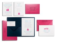 """The """"Gwen & Lars"""" invitation suite from Marsupial Invitations leaves no one guessing about the setting for the different parts of your event."""