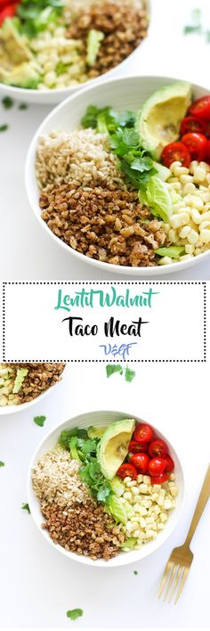 This lentil walnut taco meat is vegan, gluten free, packed with plant based protein, and is a greatalternative to meat! It comes together in 20 minutes and is perfect in burrito bowls.
