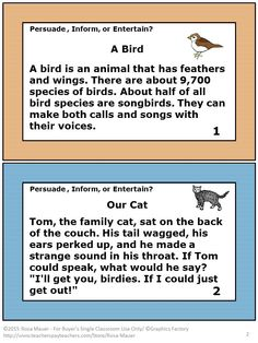 FREE Author's Purpose: These FREE task cards will be a great addition to your classroom. On each card there is a short reading passage. Students are to determine if the author's purpose was to persuade, inform, or entertain. A response form for students and an answer key for the teacher are provided.