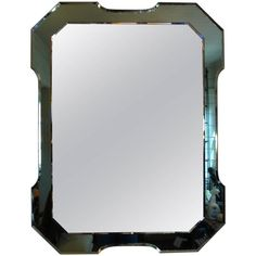 Italian Fontana Arte Style Rectangular Mirror with Green Beveled Border 1