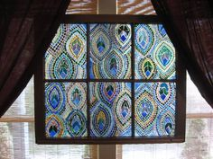 - GLASS CRAFTS - I just finished a 6 week class where this was my finished product- a no pattern, winging it, peacock feather-inspired, no grout stained glass window. Mosaic Crafts, Mosaic Projects, Stained Glass Projects, Mosaic Art, Mosaic Glass, Mosaics, Mosaic Ideas, Diy Projects, Faux Stained Glass