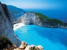 Navagio Beach or the Shipwreckon the coast of Zakynthos, in the Ionian Islands of Greece
